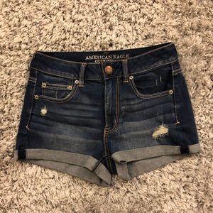 American Eagle hi rise shortie jean denim shorts